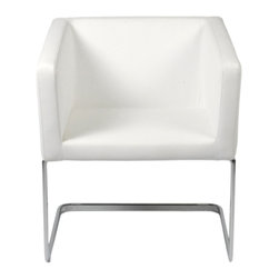 Euro Style - Ari Lounge Chair - White Leatherette/Chrome - Look at this chair from any angle and you see an orderly, well-organized shape that always looks neat and tidy. But when you sit'surprise'the seat is slightly angled in the back and the chair is remarkably cozy. The Ari: tailored, solid and stay-awhile comfortable.