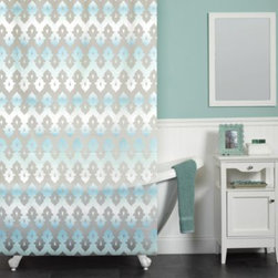 India Ink - Tasmeen 70-Inch x 72-Inch Shower Curtain in Blue - This beautiful curtain has a grey zig-zag medallion pattern on a white background, with a blue ombre fade woven throughout. The colors and design will put you in mind of the Taj Mahal.