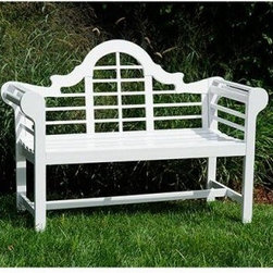 4 ft. Lutyen Garden Bench - Bring home the 4 ft. Lutyen Garden Bench and notice a visible difference in your outdoor décor. Made of sustainably harvested hardwood, the bench is eco-friendly. Sporting a scrolled and latticed back, the bench will accentuate the class and décor of your outdoor setting. A slightly contoured seat offers comfort, even during prolonged use. Its high quality construction offers it the capacity to withstand the outdoor elements.About ACHLA DesignsThis item is created by ACHLA Designs. ACHLA is a garden accessories company that emphasizes unique wood and hand-forged, wrought iron European furnishings for the home and garden. ACHLA Designs continues to add beautiful and unique items year after year, resulting in an unusually large product line. All ACHLA products are stocked in the company's warehouse for year-round, prompt shipping. ACHLA Designs takes great pride in offering exceptional products and customer service.
