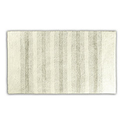 None - Westport Stripe Chalk Washable Bath Rug - Classic and comfortable, the Westport Stripe bath collection adds instant luxury to your bathroom, shower room or spa. Machine-washable, the always plush nylon holds up to wear, while the non-skid latex makes sure this ivory rug stays in place.