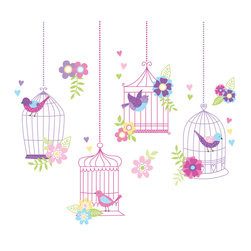 "WallPops - Chirping The Day Away Wall Decals - Perch these beautiful bird decals in and out of their pretty birdcages for an enchanted wall decor idea! With a precious pink and purple palette, and sweet hearts and flower decals, the Chirping the Day Away vintage birdcage scene is truly darling.  This wall art kit contains 27 pieces on two 17.25"" x 39"" sheets. WallPops are repositionable and always removable."