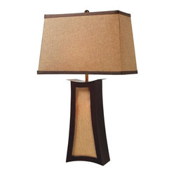 Joshua Marshal - Three Light Wood And Natural Linen Table Lamp - Three Light Wood And Natural Linen Table Lamp
