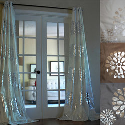 None - Sophie Modern Bold Metallic Flower Pattern 96-inch Grommet Panel Curtain - Hang these patterned grommet curtain panels in your room to quickly give it a glamorous look. Metallic flower silhouettes combine with your choice of three solid colors,making it simple to give your decor an unmistakably modern attitude.