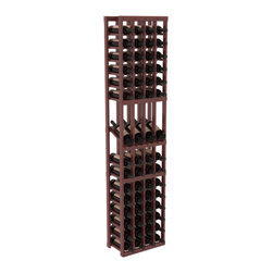 Wine Racks America - 4 Column Display Row Wine Cellar Kit in Redwood, Cherry Stain + Satin Finish - Make your best vintage the focal point of your wine cellar. Four of your best bottles are presented at 30° angles on a high-reveal display. Our wine cellar kits are constructed to industry-leading standards. Youll be satisfied with the quality. We guarantee it.