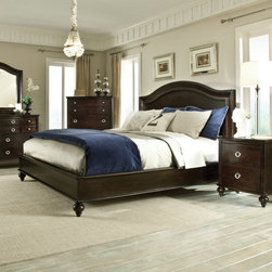 """Standard Furniture - Portman Panel Bed - Features: -Portman collection. -Warm, dark merlot color. -Richly grained cherry veneers, pine solids and durable engineered wood construction. -Tidy bun feet. Specifications: -Queen Dimensions: 57"""" H x 3"""" W x 64"""" D. -King Dimensions: 57"""" H x 3"""" W x 80"""" D."""