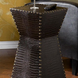 Holly & Martin - Holly & Martin Rochester Faux Leather Accent - Dark brown alligator faux leather. Studded accents. Inverted design. Spacious top platform. 14 in. W x 14 in. D x 26 in. H (19.05 lbs.)Studded accents and a sleek alligator embossed faux leather texture make this accent table a unique addition to any den, living room or bedroom. Gold studded accents line the edges of this modern side table to accentuate the narrowed middle of the table. A spacious platform serves as the perfect area to rest a cup of coffee or your favorite book. Try this studded accent table in your home office for a simple change that you will appreciate.