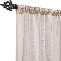 """Frontgate - Outdoor Sheer Drapery Panel - Sunbrella® solid sheers in Mist, Parchment and Wren. Sunbrella® patterned sheers in Verona and Vista add texture to your indoor/outdoor space. Delia White filters sunlight while allowing airy views from your patio. Latera Ivory and Breden Ivory striped sheers bring a tailored look to your home. Durable and weather resistant. Our exclusive Outdoor Drapery Panels are sewn from Sunbrella high-performing solution-dyed fabric. Our Outdoor Drapery adds privacy and dimension to any outdoor or indoor area. These rod-pocket panels slide easily onto our all-weather iron alloy drapery pole, or use them with ring clips (both sold separately). Sunbrella solid sheers in Mist, Parchment and Wren . Sunbrella patterned sheers in Verona and Vista add texture to your indoor/outdoor space .  .  .  . 100% solution-dyed fabric for lasting performance . Won't fade in the sun or wilt in the rain . Panels each measure 50""""W . Available in 5 sizes, including 12'L for high ceilings . Panels are sold separately . Machine washable . View our drapery measuring and hanging tips."""