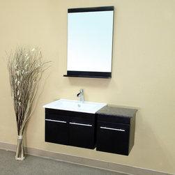 Bellaterrra - Bellaterra 203172 39.4 In Single Wall Mount Style Sink Vanity-Wood-Black - 39.4x - Bellaterra 203172 39.4 In Single Wall Mount Style Sink Vanity-Wood-Black  - 39.4x18.5x16.5 in.