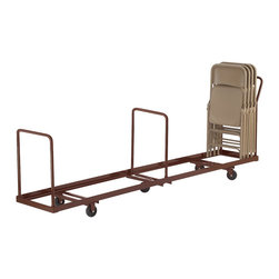 National Public Seating - National Public Seating Folding Chair Dolly Vertical storage in Brown - Safely store and move folding chairs with the National Public Seating Dolly for Folding Chairs. Simply place chairs on the sturdy steel dolly - no more reaching or straining to stack chairs above your head. Three handles, one at each end and one in the middle, make it easy to move the dolly around corners. For use with National Public Seating folding chairs. Holds up to 50 chairs. The optional Under Stage Conversion Kit lets you stack chairs on their side so they'll store neatly beneath your stage.