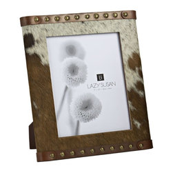 Lazy Susan - Lazy Susan 284062 Caramel Faux Pony Frame - Play the ponies. Made from genuine leather and hair-on cowhide, this handcrafted frame is perfect for a horse lover. Use it to display your best-of-show photos.