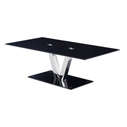Global Furniture - Coffee Table in Black - This contemporary table features a tempered black glass top and base with chrome finished V shaped support and is sure to be the focal point of your living room