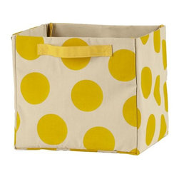 Dotted Cube Bin, Yellow - These might be made with kids' rooms in mind, but I think they're cheerful enough for any space.