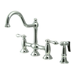 """Kingston Brass - Polished Chrome 8"""" Deck Mount Kitchen Faucet with Brass Sprayer KS3791ALBS - This faucet consists of stylish, immaculate body work and a traditional look compliant to those who desire the classic style design. The faucet has a double handle deck mount setup and features an 8"""" centerset platform. The body is fabricated from solid brass for durability and long-lasting use. The color finish is made of polished chrome for that reflective shine, as well as resisting scratches, corrosion and tarnishing. The spout rotates 360 degrees for accessibility and convenience. The handle acts as a 1/4-turn on/off water control mechanism for easy management of water volume and temperature.  The faucet operates with a ceramic disc valve for droplet-free functionality with the water measured 2.2 GPM (8.3 LPM) and a 60 PSI maximum rate.  An integrated removable aerator is inserted beneath the spout's head piece for conserving water flow. A 10-year limited warranty is provided to the original consumer. Brass sprayer included.. Manufacturer: Kingston Brass. Model: KS3791ALBS. UPC: 663370017162. Product Name: 8"""" Deck Mount Kitchen Faucet with Brass Sprayer. Collection / Series: Restoration. Finish: Polished Chrome. Theme: Classic. Material: Brass. Type: Faucet. Features: Includes Brass Sprayer"""