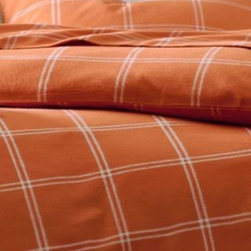 Garnet Hill - Garnet Hill Paintbrush Plaid Flannel Bedding - Double - Flat - Flowerpot Orange - This wide windowpane plaid flannel bedding is a versatile pattern to mix with solids or other prints. This warm pure cotton flannel is brushed to provide sumptuous softness. Due to the napped finish of this comfy flannel style, pilling is a natural result; shedding and pilling will diminish with washing. Fitted sheet is fully elasticized for a better fit.