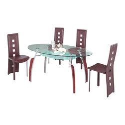 American Eagle Furniture - 210DT & 360CH Glass Table With Mahogany Vinyl CHairs 5 Piece Dining Set - The 210DT & 360CH dining set is a great addition for any dining room that needs a touch of simple modern design. The dining table has a glass table top that features a two tier design. The main table top comes in a clear glass oval shape while the lower level comes with a frosted finish. The table has a four leg design with the legs made from polished stainless steel and mahogany accents running up the legs vertically. The chairs come upholstered in a stunning brownish red vinyl material with high density foam placed within the cushion for added comfort. The chairs have a unique open square design on the back that adds to the overall look. The frame of the chairs are crafted from polished stainless steel with the backrests extending down to the legs. The dining set consist of a dining table and four chairs only.