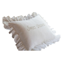 Taylor Linens - Sweet Dreams Natural Standard Sham - Make this heartfelt sentiment the last thing you see before you drift off to sleep. A halo of snowy ruffles surrounds this embroidered linen sham, offering a sweet conclusion to every waking day.