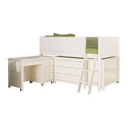 Lea Industries - Lea Furniture Willow Run Low Loft Bed in Linen White - You can provide your childs bedroom with a lot of open space by adding this low loft bed to the decor. The piece carries a linen white finish and features a side railing to prevent falling that incorporates gently horizontal slat panel look into the design. In addition, the ladder creates easy access up and down the bed. Plus, two four drawer chests and a pull-out work desk are incorporated into the base design of the lofted bed. This bed gives you all the storage and work space your child needs in such a limited amount of space! The dresser storage and bookshelf space is great for keeping shirts, blankets, toys, books and games. The desk features 4 drawers and a book rack on the side for additional materials. Functional and fashionable, this junior loft bed is sure to please.