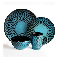 Jay Import Co - Sicily Blue 16 Piece Dinnerware Set - Bring bright delight to your daily meals with this eye-popping, 16-piece dinnerware set (full service for four). The bold blue and black geometric motif is in perfect sync with your eclectic style.