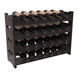 Wine Racks America - 24 Bottle Mini Scalloped Wine Rack in Redwood, Black Stain + Satin Finish - Stack four 6 bottle racks with pressure-fit joints for proper storage of 24 wine bottles. This rack requires no hardware for assembly and is ready to use as soon as it arrives. Makes the perfect gift and stores wine on any flat surface.