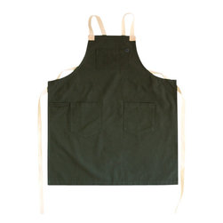 Moss Apron - A new breed of aprons for H&B has been born. For the person who doesn't like to have anything around their neck, this is the apron for them. Designed with a criss cross strap on the back of the apron, this prevents you from ever having an apron strap tug on your neck again. Detailed with touches of leather, this apron is comfortable, stylish and built to last.