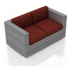 Harmonia Living - Urbana Weathered Stone Modern Loveseat, Canvas Henna Cushions - The Harmonia Living Urbana Rattan Patio Loveseat with Red Sunbrella cushions (SKU HL-URBN-WS-LS-HN) features clean lines, premium synthetic wicker and brushed aluminum feet, giving your outdoors a fantastic modern look. The High-Density Polyethylene (HDPE) wicker is infused with a Weathered Stone color and UV treatment, creating long-lasting color that is fade-resistant and cannot be stripped off. Underneath the wicker is a sturdy, thick-gauged aluminum frame that is powder coated, making it incredibly corrosion resistant. The outdoor wicker seats are reinforced to prevent excessive wicker stretching, ensuring you and your guests can sit securely each time. The sofa includes seat and back cushions covered in fade- and mildew-resistant Sunbrella fabric, which is available in Canvas Henna.
