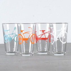 Screen-printed Bicycle Pint Glasses by vital - The most adorable way to sip refreshing drinks on your front porch. Each glass is screen-printed by hand too.