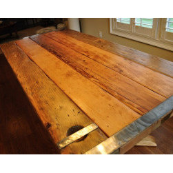 Nautical Furniture - Dining Table - Liberty Ship Hatch Cover - We deconstruct longer hatch covers and then reconstruct them into dining room tables that are in the 80+ inch range. We have numerous selections for bases for these beautiful, functional pieces.