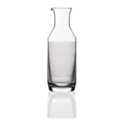 Bomma - Line Collection 27 oz. Crystal Carafe - The Lines Collection Crystal 27 ounce carafe celebrates uniqueness and simplicity in surprisingly minimalist style. It has strong visual performance when rotating all round and extraordinary feeling due to intersection of horizontal and vertical lines. The LINES pattern is designed by Olgoj Chorchoj Studio. It is manufactured manually and refined to perfection on state-of-the-art cutting robots.