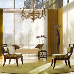 Vertical Window Treatments - Hunter Douglas Vignette Privacy Sheers in living room.