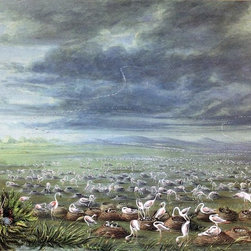 """George Catlin Ambush for Flamingos in South America - 18"""" x 24""""  Print - 18"""" x 24"""" George Catlin Ambush for Flamingos in South America premium archival print reproduced to meet museum quality standards. Our museum quality archival prints are produced using high-precision print technology for a more accurate reproduction printed on high quality, heavyweight matte presentation paper with fade-resistant, archival inks. Our progressive business model allows us to offer works of art to you at the best wholesale pricing, significantly less than art gallery prices, affordable to all. This line of artwork is produced with extra white border space (if you choose to have it framed, for your framer to work with to frame properly or utilize a larger mat and/or frame).  We present a comprehensive collection of exceptional art reproductions byGeorge Catlin."""
