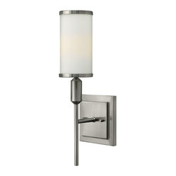 Hinkley Lighting - Princeton 1-Light Sconce Sconce - Princeton's stem hung design features etched opal glass captured between matching metal trim rings that float above tapered cast stem details. The petite torch lights sit prominently on top of large rectangular arms for a bold yet elegant effect.