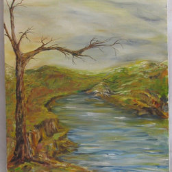 Consigned - River with Lone Tree Oil Painting - Oil on canvas landscape painting with a lone tree and flowing river.   Wonderful sense of movement in the water repeated in the rendering of the tree, sky, and vegetation.