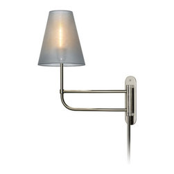 """Sonneman - Sonneman 1960 Bistro 1 Light 19"""" Height Plug-In Short Swing Arm Wall Sconce - Sonneman 1960 Bistro 1 Light 19"""" Height Plug-In Short Swing Arm Wall SconceBistro Swing Arm Short Wall Lamp is a transitional design featuring the luminance of a filament that shimmers behind a veil of organza silk, casting mysterious sophistication to your eclectically designed home or architect-inspired space.Sonneman 1960 Features:"""