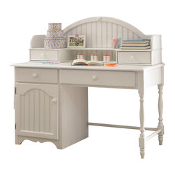 Hillsdale Furniture - Westfield Desk & Hutch Set in Off White Finis - This item's innovative design configuration is augmented by robust details and a superior white finish. Hillsdale's Desk and Hutch includes solid wood frame, spindle legs, bead board details, two drawers and stationary shelf. A comprehensive set that offers great value. * For residential use. Includes desk and hutch. Hutch includes 2 drawers and 1 stationary shelf. Bead board details. Lovely sculpted feet. Minor assembly required . Desk: 53.25 in. W x 24.5 in. D x 30.75 in. H. Hutch: 51.75 in. W x 12.25 in. D x 17.75 in. HThe whimsical yet traditional styling of the Lauren desk and hutch makes it a delightfully timeless addition to any young girl's room. It provides a large amount of storage space with two large shelves and several drawers and the cork board inside the hutch allows for placement of notes or pictures. The drawers have French dovetail drawer fronts, English dovetail drawer backs and wood on wood drawer glides. The White finish coordinates with any d���cor you might choose.