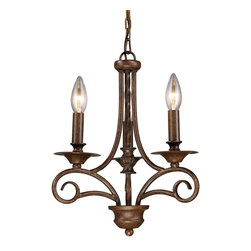Elk - Gloucester 3-Light Chandelier in Antique Bronze, Standard - This old-world inspired chandelier from the Gloucester Collection brings us back to a time when lighting was provided solely by the flickering of candles. Its beautiful wrought iron body and three candlestick bulb-holders are finished with a classic coating of weathered bronze. This piece is perfect for a homeowner who finds inspiration in 19th century European design.