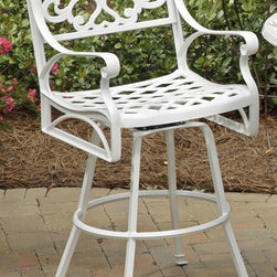HomeStyles - UV Resistant Barstool (White) - Color: WhiteSeat designed specifically to prevent damage caused from pooling by allowing water to pass through freely. Nylon glides prevent damage to surfaces caused by movement and provide stability on uneven surfaces. Stainless steel hardware. UV resistant finish. Made from cast aluminum. Seat height: 28 in.. Arm height: 38.25 in.. Overall: 24.4 in. W x 22 in. D x 48 in. H. Warranty. Assembly InstructionsCreate an intimate conversation area with home styles outdoor stools.