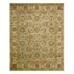 """Nourison - Nourison Jaipur JA34 (Seafoam) 5'6"""" x 8'6"""" Rug - The Nourison Jaipur collection features a distinctive assortment of traditional designs, handmade from the finest 100% premium quality wool. Nourison's own unique herbal-wash process creates the elegant look of a priceless antique. With their lavish pile and the silk-like sheen of their lanolin-rich wool, Jaipur Collection rugs will bring a dramatic fashion accent to any room setting."""