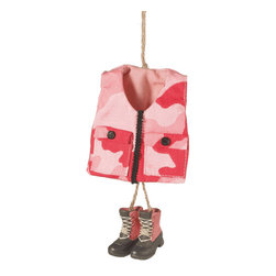Midwest CBK - Pink Camo Vest & Hunting Boots Christmas Tree Ornament - Sports Hunt Fabric Gift - Pink Camouflage Hunting Vest & Boots Ornament