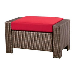 Hampton Bay - Hampton Bay Ottomans Beverly Patio Ottoman with Dragon Fruit Cushion 65-9102332 - Shop for Outdoor Patio Furniture at The Home Depot. Put your feet up and relax in style with this Beverly Patio Ottoman with red Cushion. Perfect for your patio porch or sunroom this functional piece from Hampton Bay is made with a sturdy rust resistant powder coated steel reinforced frame with all-weather resin wicker to help withstand the outdoor elements. Inspired by vintage wicker styles its long-lasting red cushion blends beautifully with the multi-brown wicker finish. Cushion is fade stain and mildew resistant.