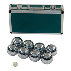 Jaques - Jaques Alloy 8 Boule Bocce Ball Set with Metal Case - Petanque Multicolor - 2460 - Shop for Backyard Games from Hayneedle.com! This version of bocce is so heavy-duty it needs a metal case! Jaques Alloy 8 Boule Bocce Ball Set with Metal Case is petanque at its best. Petanque is a French or Italian (it depends on who you ask) type of bocce ball that uses heavy hollow metal balls that ping loudly and satisfyingly off of one another. This set is a great way to bring this classic home with a full set of 8 polished alloy boules and a standard jack or target ball. This gleaming set stays put in the included matching metal case. About Jaques of LondonAs the oldest games company in the world the name Jaques is inexorably intertwined with the history of almost any classic game. After literally inventing croquet popularizing the gold-standard Staunton chess pieces everyone recognizes and building a series of other games and items with the finest wood in the world Jaques has continued to reinvent itself. Today they produce game pieces and sets of the utmost quality in the strongest rarest and best-looking materials on Earth.