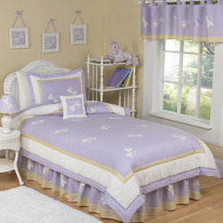 Sweet Jojo Designs - Sweet Jojo Designs Girls 'Dragonfly Dreams' 4-piece Twin Comforter Set - Delicate embroidered dragonflies flutter around this beautiful and exquisite set made with lavender,off-white and yellow accents. This set is comfortable,truly stunning and will delight your little fairy princess.