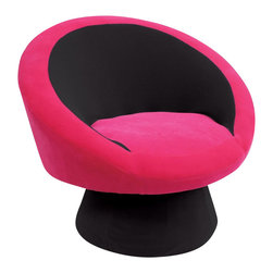 Lumisource - Lumisource Saucer Chair in Black/Hot Pink - Lumisource - Accent Chairs - CHRSAUCE BK+PK. This colorful plush chair adds a modern flair to casual seating. The Saucer Chair is great for your teen or dorm room! Comfortable padding with bright pink plush upholstery over sturdy wood frame gives a vibrant fun excuse to sit and relax!