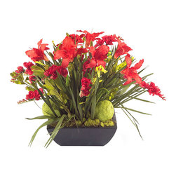 John Richard - John Richard Daylily Garden JRB-3023 - Daylily garden. Day lilies in a bright and energetic hot pepper color with hedge apples nested in a bed of natural bulb foliage in a black terrazzo look square bowl.