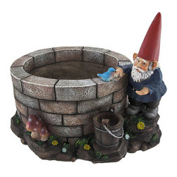 `Well of Blessings` Gnome Fetching Water From Well Planter - This adorable planter features a tiny gnome fetching water from a well and having a chat with a little blue bird. The large brick well, measuring 7 inches in diameter and 4 1/2 inches deep, serves as a planter for your favorite blossoms. A hole on the bottom of the well allows water to drain out to prevent flooding. So, when you plant in the well, hopefully the little gnome will stop drawing water from it. The entire adorable planter measures 13 1/2 inches long, 11 1/2 inches wide, and 9 1/2 inches tall. It is constructed from a durable cold cast resin material that will not rust or deteriorate in the weather. This fantastic piece is an adorable fantasy garden or patio accent that all the other gnomes in your garden will cherish.