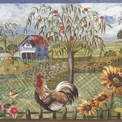 York Wallcoverings - Blue Rooster Farm Wallpaper Border - On the farm, it's the rooster who tells everyone that it's time to get up and begin the day. Similarly, the bright and cheerful colors of this Blue Rooster Farm Wallpaper Border will help you start your day with a smile. A lovely addition to a country kitchen or bathroom, the charming design shows proud roosters a midst fields of flowers and crops. Red barns, schoolhouses and farmhouses are visible in the background, and the sky overhead is a beautiful blue. Blue and brown trims complete the design, which is printed on Prepasted Peelable-coated, strippable and washable wallpaper of the highest possible quality.