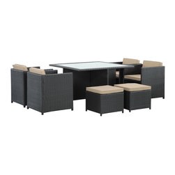 LexMod - Inverse 9 Piece Outdoor Patio Dining Set in Espresso Mocha - Restore balance to your outdoor patio or backyard setting as you assemble around the Inverse table and chair set. Transition from an espresso expanse to a mocha cushioned realm of harmonized opposites. With an all-weather rattan base and cushion covers, Inverse helps you place conscious emphasis on ultimate forms of expression no matter what the climate.