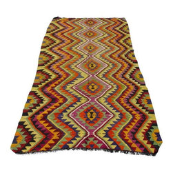 """Pre-owned Vintage Kilim Rug Manavgat Edition - 4'9"""" x 12'9"""" - Vintage turkish anatolian dowry kilim. This kilim is an anatolian kilim, made in Turkey. An exclusive 100% authentic Manavgat kilim rug made of fully organic wool on natural goat hair fibers. Beautiful funky tribal design. Unusual zigzag design...    Care and Maintenance:  Regular vacuum cleaning and/or shaking the rug will remove loose dirt and fluff pile.  Immediate attention is required in case of spills. Liquids should be blotted with a clean undyed cloth, which is to be pressed firmly all around for maximum absorption.    Note from seller: all our rug's are handmade, professionally washed before listed & ready for use. Please kindly note that; the image color may differ from the actual item colors and colors may differ from screen to screen. Make sure to see our other listings…Good luck and happy shopping!  Immediate attention is required in case of spills. Liquids should be blotted with a clean undyed cloth, which is to be pressed firmly all around for maximum absorption.    Please kindly note that; the image color may differ from the actual item colors and colors may differ from screen to screen."""