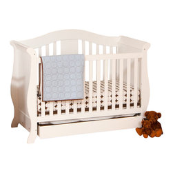 Stork Craft - Stork Craft Vittoria 3-in-1 Fixed Side Convertible Crib in White - Stork Craft - Cribs - 04587221 - The Vittoria 3 in 1 Fixed Side Convertible Crib by Stork Craft offers a classic sleigh design that adds a rich sophistication to the nursery.The extra large bottom drawer allows for ample storage of your child's most precious belongings. It has a well built construction made of attractive solid wood and wood products offered in a variety of beautiful non toxic durable finishes. This crib is not only gorgeous but it is versatile; converting from a standard crib to a daybed and ultimately to a full-size bed complete with headboard and footboard (full size bed rails not included). Set-up this extravagant Vittoria Fixed Side Convertible Crib effortlessly with it's easy to follow directions and extra sturdy stationary side rails. Complete your nursery look by adding complimentary accessories by Stork Craft: a changing table chest dresser or glider and ottoman.