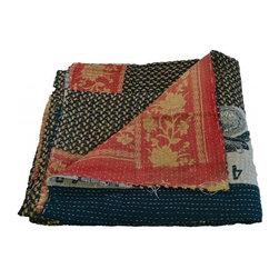 Modelli Creations - Vintage Reversible Kantha Throw In Black And Red - Vintage Reversible Kantha throw in Black and Red