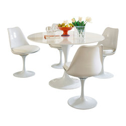 "Modway Furniture - Modway Lippa 5 Piece Dining Set in White - 5 Piece Dining Set in White belongs to Lippa Collection by Modway This Lippa Dining table and chair set is the perfect solution to your dining seating needs! Perfect when entertaining or for everyday relaxation. Table has a lacquered cast aluminum base. Chair has a swivel seat with a padded cushion upholstered in several fabric colors. Whites are reinforced bonded finishes that maintain their gloss through years of use. Both the base and top are treated with a clear protective finish to resist scratches, stains and scuffs. Set Includes: Four - Lippa Side Chairs One - 48"" Lippa Dining Table Dining Table (1), Side Chair (4)"